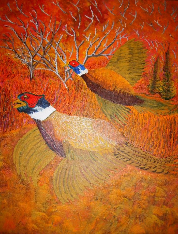 Pheasants done in acrlylic 16 X 20