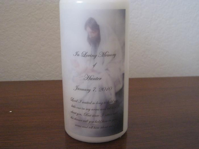 Special candle in memory of Hunter.