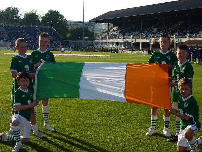 my 2 boy's holding the flag for ireland