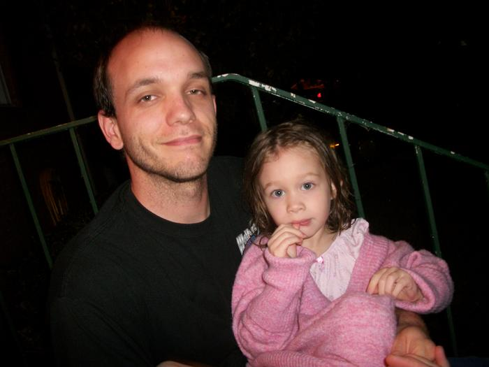 Husband and Daughter, they could hardly keep their eyes open because of the flash!