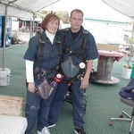 Brian & I geared up & ready to go for 1st skydive, 9/2006. 150 lbs.