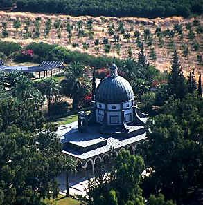 Church of the Beatitudes and surrounding orchards/lush green