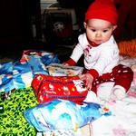 surrounded by her presents :)
