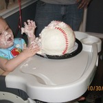 My son Connor's first birthday party! That cake was all his :)