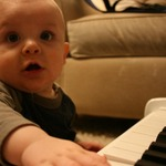 playing his new piano - almost 6 months