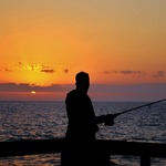 One of our Marines, Fishing at Sunset