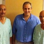 Arnon Krongrad with two brothers after prostate removal.