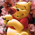 pooh loves flowers
