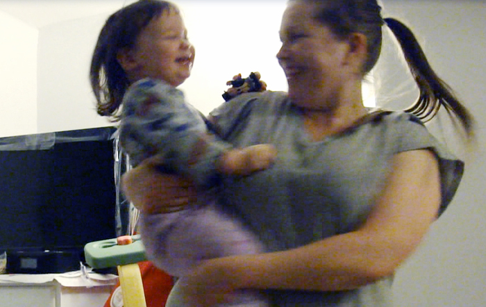 Just a screen capture from a video. Sydney & Mommy dancing :)