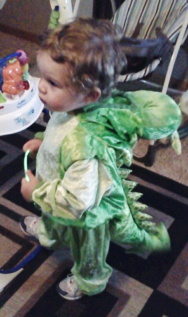 Westley 2 years old - First time trick or treating as a lil dragon :))