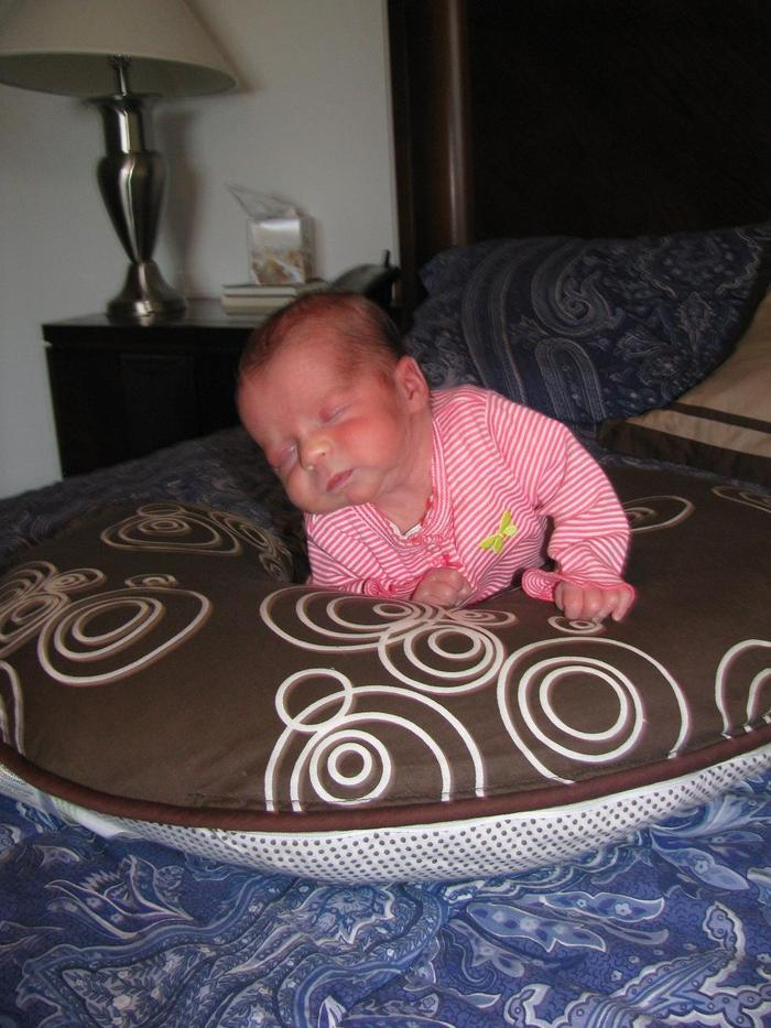 Margot enjoying her tummy time