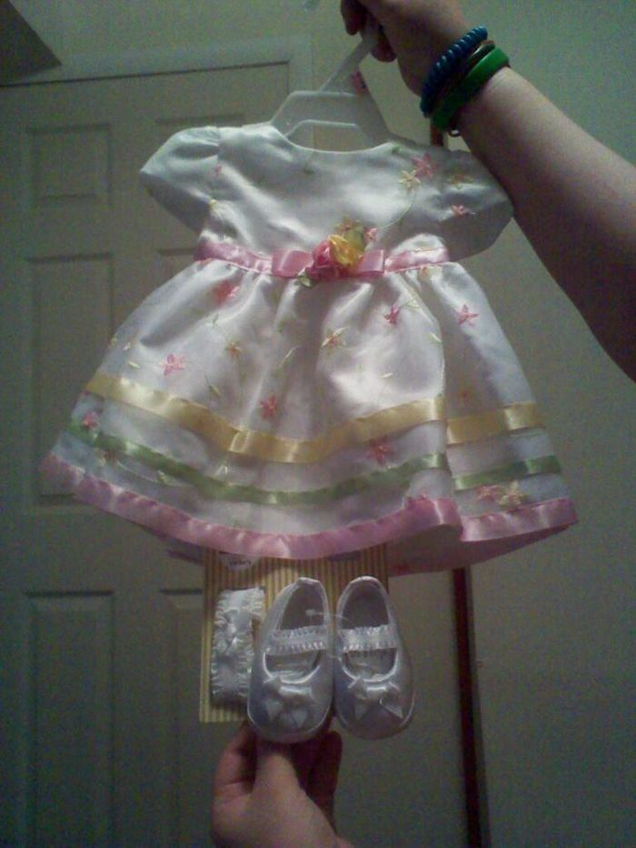 Aubree's new dress and shoes we got her to take pictures in!