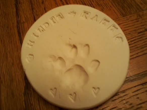 Hildie's last paw print, done by the crematory.