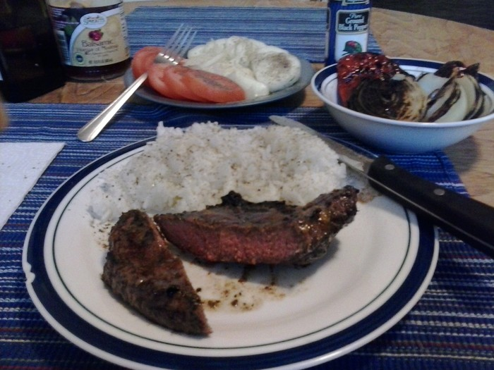 Lean Grilled Steak and Plain Rice,  Grilled Peppers & Onions w/ Tomato/Cucumber Salad