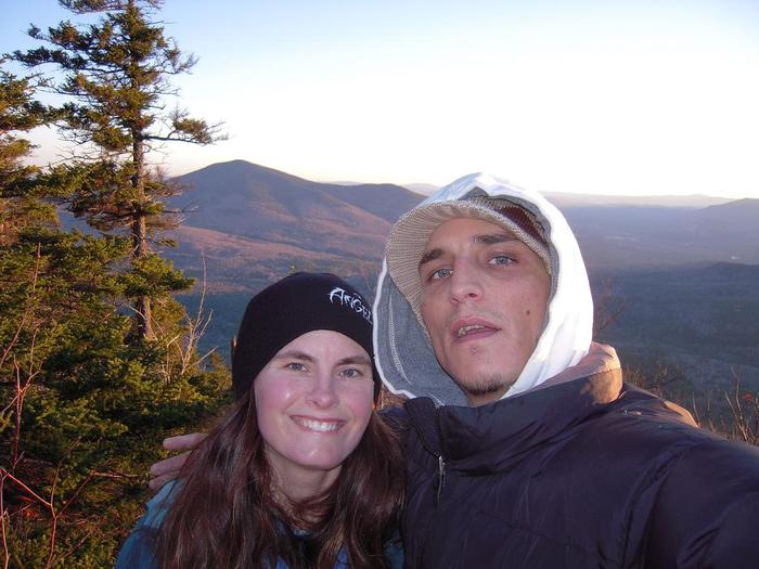 my sister & i, on top of DoubleHead. it was about -10 degrees & darkness setting in.