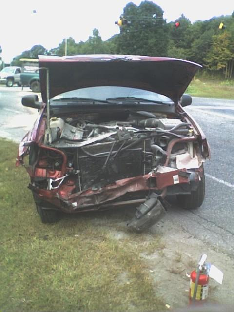 this car ran into CHRIS's work truck it didnt even leave a scratch on the truck