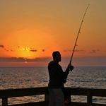 One of our Marines Fishing from our Pier