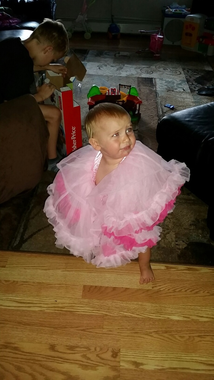 Xavier is not a fan of the tutu.