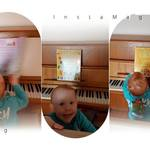 "T loves music and is trying to ""play"" the piano - too funny ;)"